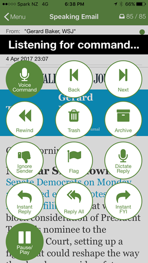 Screenshot showing Speaking Email listening for your voice command