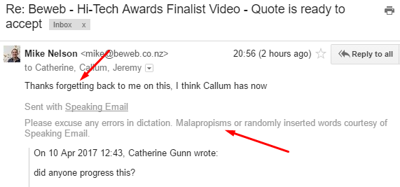 Embracing malapropisms in dictation on Speaking Email